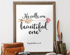 Er ruft mich schöne Printable Verse Hohelied Bibel Vers Art