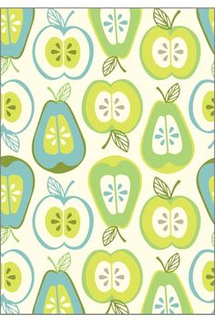 apple and pears pattern – love the color combo! - #apple