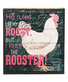 'Rule the Rooster' Wall Art by GANZ Really cute for Leda! Doodle Doo, Farm Animals, Home Crafts, Silhouette Cameo, Rooster, Doodles, Invitations, Crafty, Country Farmhouse