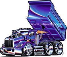 Cartoon Drawings of Semi Trucks Kenworth T800, Kenworth Trucks, Chevy Trucks, Pickup Trucks, Big Rig Trucks, Dump Trucks, Cool Trucks, Cool Cars, Rat Fink