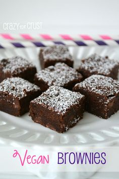 A rich, dense, and fudgy brownie that is egg and dairy free. You'll never know these are vegan brownies!