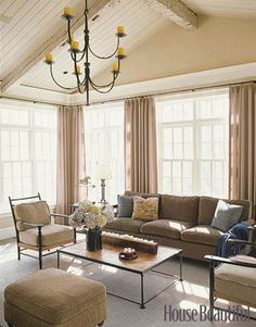 Simple Clean Living Room Design Tables Sets 1102 Best Images In 2019 And Lines Three Walls Of Tall Windows Flood The Sunroom With Light Mature Trees March Right Up To House So It S Almost Ballard Designs