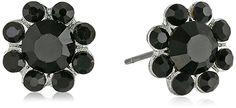 1928 Jewelry Silver-Tone Black Button Stud Earrings