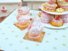 Pink 'Biscuit de Reims' Pastry Swan - 12th Scale Miniature Food. $18.00, via Etsy.