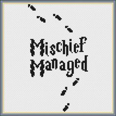 Fabric: 14 ct Aida Floss: DMC Total colors used: 1 Stitch size: 55 x 100 Design area (in inches; will be smaller if stitched on higher count Aida cloth): 5.6 x 7.1 Contains backstitching: No Find the corresponding I solemnly swear I am up to no good pattern here!: