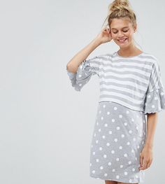 Get this ASOS Maternity - Nursing's evening dress now! Click for more details. Worldwide shipping. ASOS Maternity NURSING Stripe & Spot Night Tee - Grey: Maternity night dress by ASOS Maternity, Soft-touch jersey, Crew neck, Stripe and spot print, Double layer design ideal for nursing, Frill sleeves, Designed to fit during and post pregnancy, Machine wash, 85% Cotton, 15% Polyester, Our model wears a UK 8/EU 36/US 4 and is 180cm/5'11 tall. Maternity dressing gets bumped up to next-level…