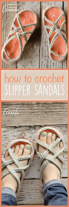 Crochet Sandals: an adorable adult craft making crochet slippers! ~ Crochet Sandals: an adorable adult craft making crochet slippers! Crochet Boots, Diy Crochet, Crochet Clothes, Crochet Baby, Crochet Summer, Slippers Crochet, Crochet Style, Crochet Sandals Pattern, Crochet Ideas