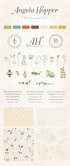 Small Business Branding & Identity Design for Angela Hopper Photography- organic illustrations