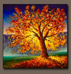 Original oil painting on canvas art. Autumn gold yellow orange red tree in sun light landscape expressionism artwork oil acrylic painting , Autumn Painting, Oil Painting Flowers, Texture Painting, Oil Painting On Canvas, Artist Painting, Canvas Art, Bright Paintings, Buy Paintings, Landscape Paintings