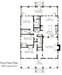 Country Historic House Plan 73831 Level One