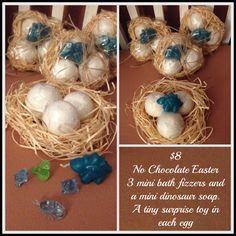 No Chocolate Easter gift for kids. Nest of 3 Bathbomb Dinosaur eggs with little toy inside, and mini dino soap. See Bebebelle Handmade Soap on Facebook to order