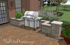 Outdoor Living Space for Backyard | This with a bar perpendicular to the right of grill would be awesome...