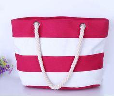 Casual Canvas Striped Large Shoulder Beach Bag