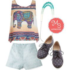 In this outfit: Step Rally Flat, Bead All That You Can Be Necklace, Work and Playa Shorts, Pachyderm the Trunk Top #boho #elephants #summer #oxfords