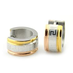 Sirius Jewelry Gold & Silver Tone Engraved Stainless Steel Huggie Hinged Hoop Earrings with Gift Box by Sirius Jewelry -- Awesome products selected by Anna Churchill
