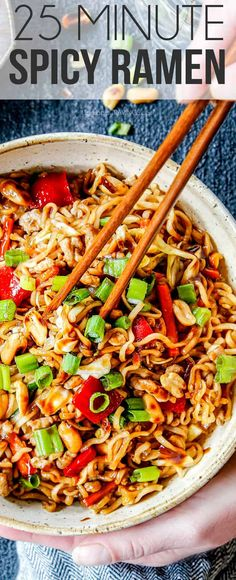 Quick an easy Spicy Ramen Noodles on your table in less than 25 minutes with customizable heat, veggies and protein! The perfect last minute or clean-out-the-fridge dinner! #dinner #recipes #ramen #noodles #asianrecipes #recipeseasy #recipeoftheday #pork #chicken #chickenfoodrecipes #chinesefoodrecipes via @carlsbadcraving