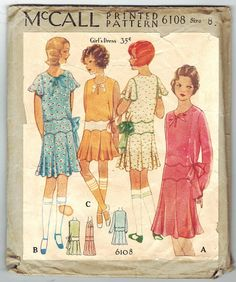 McCall 6108 Vintage 30s Lovely Girls Drop Waist par PatternPlaying, $75.00