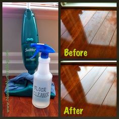 1 C water, 1C vinegar, 1C isopropyl alcohol, few drops liquid soap, 10-15 drops essential oil (optional). Combine in spray bottle.Deffintely will do this to my new hard wood floors