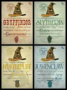 Harry-Potter-Haus Hufflepuff, Gryffindor, Ravenclaw, Slytherin - Source by haaarbigram Ideas party Baby Harry Potter, Chapeau Harry Potter, Magie Harry Potter, Harry Potter Motto Party, Harry Potter Fiesta, Classe Harry Potter, Harry Potter Thema, Harry Potter Classroom, Theme Harry Potter