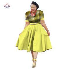 African Clothing Dress For Women Dashiki Bazin Riche Vestidos - Afrinspiration Short African Dresses, Latest African Fashion Dresses, African Print Dresses, African Print Fashion, Sotho Traditional Dresses, South African Traditional Dresses, African Attire, African Wear, Seshoeshoe Dresses