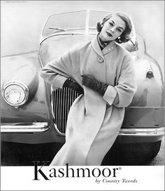 Jean Patchett in soft luxurious coat of Kashmoor (cashmere-like blend of alpaca, mohair and nylon) by Country Tweeds, Harper's Bazaar, August 1954 Look Vintage, Vintage Glamour, Vintage Ladies, Fifties Fashion, Retro Fashion, Holiday Party Outfit, Vintage Fashion Photography, Vintage Advertisements, Fashion Pictures