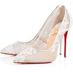 Christian Louboutin Follies Lace ($795) ❤ liked on Polyvore featuring shoes, pumps, white, white shoes, tall shoes, lacy shoes, pointed toe shoes and white pointed toe shoes