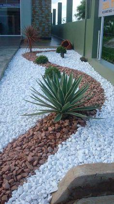 Landscaping With Rocks, Modern Landscaping, Front Yard Landscaping, Landscaping Ideas, The Residents, Low Maintenance Backyard, Front Yard Design, Modern Landscape Design, Modern Design