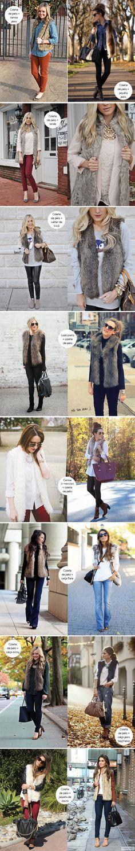 Para inspirar - Como usar - colete de pelo, fur vest, camisa jeans, saia, calça, looks