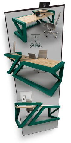 Work Desk Design Discover Great Home Accessories Welded Furniture, Modern Wood Furniture, Diy Furniture Decor, Industrial Design Furniture, Steel Furniture, Repurposed Furniture, Unique Furniture, Garden Furniture, Modern Wood Desk