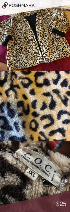 Women's 3X leopard furry jacket by COC So soft and fuzzy....this one could make you sleepy BEWARE!!! Leopard fuzzy jacket, women's size 3X by C.O.C. Or Clothing Obsessed Company. This was purchased at a boutique and looks adorable on with jeans or dress pants...could also be worn as a lounge coat. You will pick up more than a couple compliments with this one ladies! clothing obsessed company Jackets & Coats
