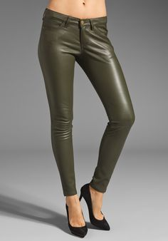 CURRENT/ELLIOTT The Ankle Leather Skinny in Military Green at Revolve Clothing - Free Shipping!