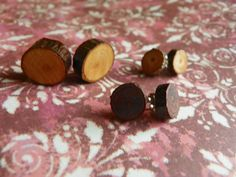 """""""Lady of the Woods"""" .. wooden stud earrings make from the sticks in the backwoods of West Virginia .. only $9 a pair, available in multiple sizes and colors! Check them out! - FREE SHIPPING!"""