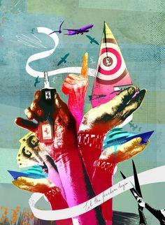 Tim marrs illustrators central illustration agency grape in Hand Illustration, Mixed Media Artists, Mixed Media Collage, Illustrators, Photomontage, Life Inspiration, Packaging, Night Skies, 1950s