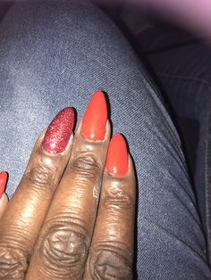 Red and glitter acent nails  Canni gel builder Ukiyo gel polish 1343 Azure gel polish rb4001 Purchased all at Ali express