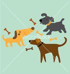 Set cartoon dog with bone vector on VectorStock®