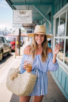 Gal Meets Glam Beach Breeze -Faithfull The Brand dress, Hat Attack bag and Preston & Olivia hat