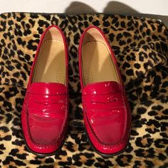 Woo hoo! Fabulous Cole Haan Red loafers! Red patent leather. Slightly worn. Made in Italy Cole Haan Shoes Flats & Loafers