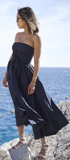 Navy Wrap Strapless Maxi Dress by Song Of style