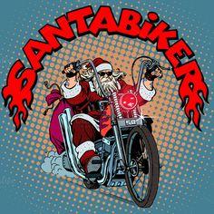 Santa Claus biker Christmas by studiostoks on Creative Market