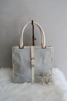 a03a9b7fec39 Vintage Gucci Light Blue GG Logo Monogram Canvas Handbag Tote Bag