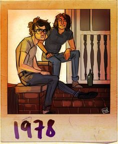 For Sirius Black's Birthday - November 3rd | James and Sirius outside their first apartment together.