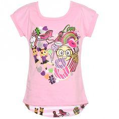 Big Girls Pink Summer Entertainment Print Stripe Short Sleeve T-Shirt 8-12 - Sophia's Style