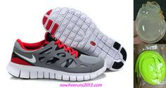 Grey Red White Mens Nike Free Run 2 For Sale
