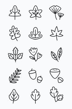 Bullet Journal Art, Bullet Journal Ideas Pages, Bullet Journal Inspiration, Bullet Journal Leaves, Doodle Drawings, Easy Drawings, Simple Animal Drawings, Easy Flower Drawings, Autumn Doodles