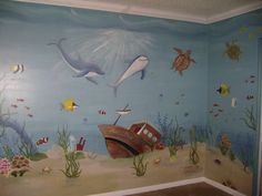 Under The Sea Mural - Pam Beach County Florida-love the sunlight looks like you are really in the ocean! Childrens Wall Murals, Kids Wall Murals, Nursery Wall Murals, Murals For Kids, Mural Wall, Sea Murals, Beach Mural, Sea Nursery, Mural Painting