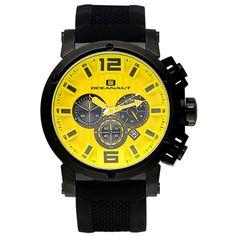 Men's Yellow Dial Black Silicon - Oceanaut Watch