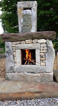 Outside Fireplace, Cabin Fireplace, Backyard Fireplace, Rustic Fireplaces, Fire Pit Backyard, River Rock Fireplaces, Fireplace Pictures, Outdoor Fireplace Designs, Outdoor Oven