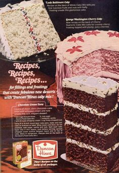 George Washington Cherry Cake, in honor of our late President. Needs hatchet decorations. Retro Recipes, Old Recipes, Vintage Recipes, Vintage Baking, Vintage Food, Vintage Ads, Retro Food, Retro Ads, Food Cakes