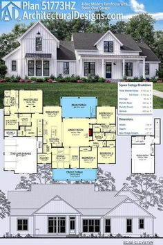 Architectural Designs Modern Farmhouse Plan *PERFECT 51773HZ gives you 4 bedrooms and has an optional 5th bedroom over the garage. Inside, it has volume ceilings throughout the first floor and over 2,700 sq ft of heated living space. ? #51773HZ #adhouseplans