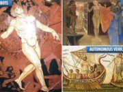 Ιστορικός Stanford: Αρχαίοι Έλληνες Προέβλεψαν Τεχνητή Νοημοσύνη και Αυτόνομα Τροχοφόρα Ρομπότ Kai, Baseball Cards, Painting, Painting Art, Paintings, Painted Canvas